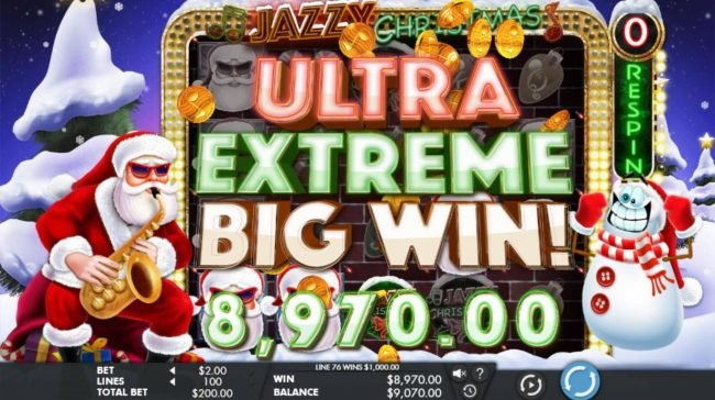 Casino Extra featuring the Video Slots Jazzy Christmas with a maximum payout of $100,000