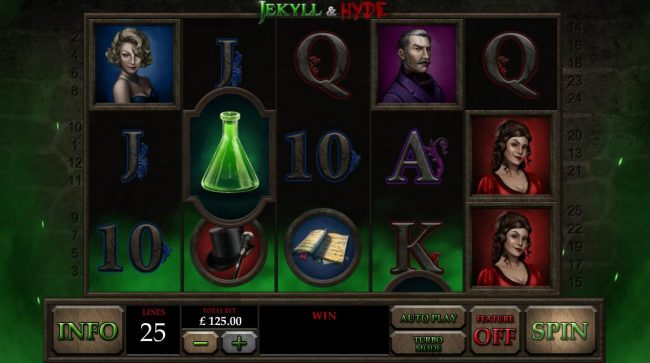 Jekyll & Hyde :: Main game board featuring five reels and 25 paylines with a $50,000 max payout