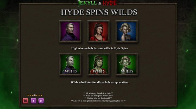 Jekyll & Hyde :: Hyde Spins Wilds - Hig win symbols become wilds in Hyde Spins.