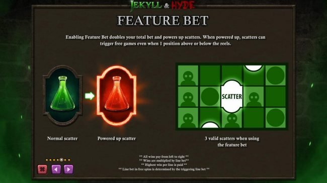 Jekyll & Hyde :: Enabling feature bet doubles your total bet and powers up scatters. When powered up, scatters can trigger free games even when 1 position above or below the reels.