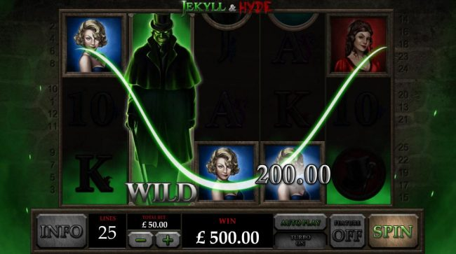 Jekyll & Hyde :: Expanded wild on reel 2 triggers multiple winning paylines leading to a 500.00 big win!