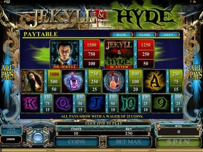 Joker Casino featuring the Video Slots Jekyll & Hyde with a maximum payout of $18,750