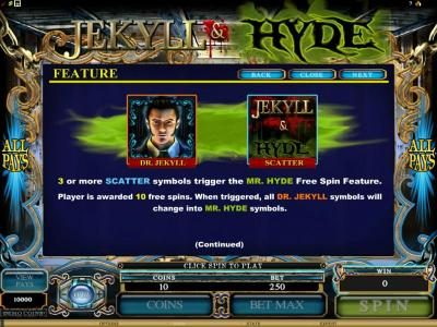 Spin Palace featuring the Video Slots Jekyll & Hyde with a maximum payout of $18,750