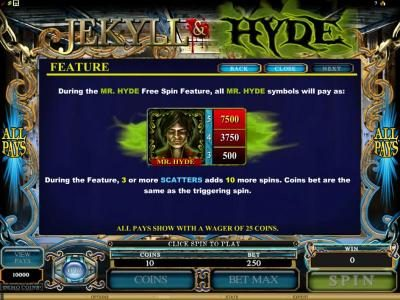 Lucky Nugget featuring the Video Slots Jekyll & Hyde with a maximum payout of $18,750