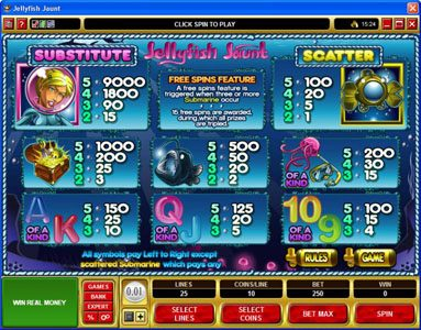 Hyper Casino featuring the Video Slots Jellyfish Jaunt with a maximum payout of $45,000