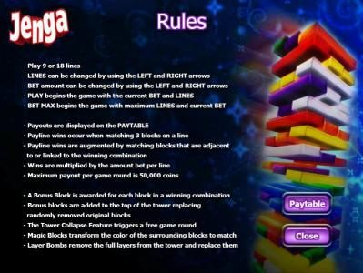 Casimba featuring the Video Slots Jenga with a maximum payout of $1,000,000