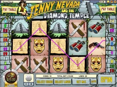 Liberty Slots featuring the Video Slots Jenny Nevada and the Diamond Temple with a maximum payout of $12,500