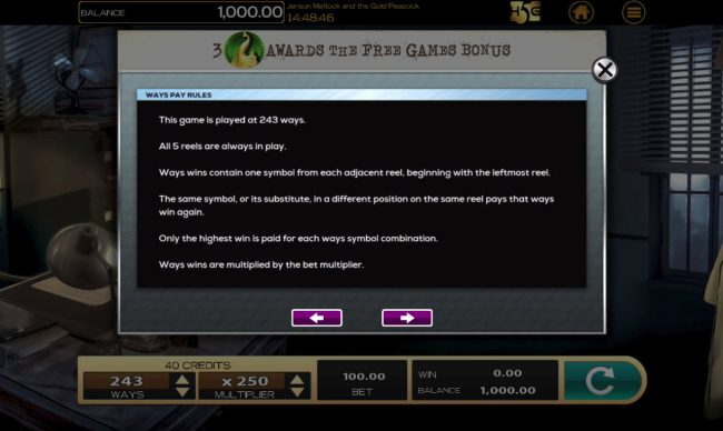 Jensen Matlock Gold Peacock :: General Game Rules