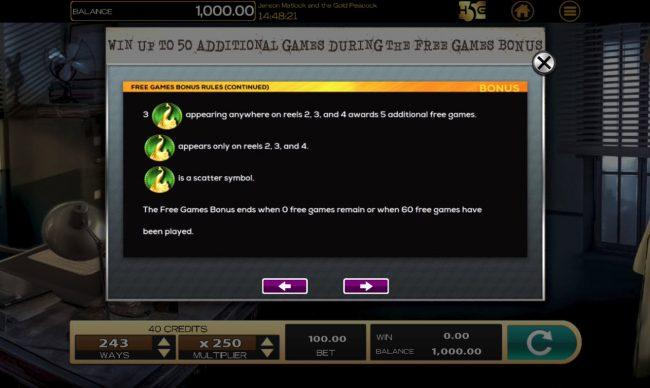 Jensen Matlock Gold Peacock :: Scatter Symbol Rules