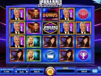 Jeopardy! :: Main game board featuring five reels and 40 paylines with a $250,000 max payout