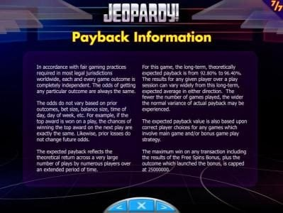 888 Casino featuring the Video Slots Jeopardy! with a maximum payout of $250,000