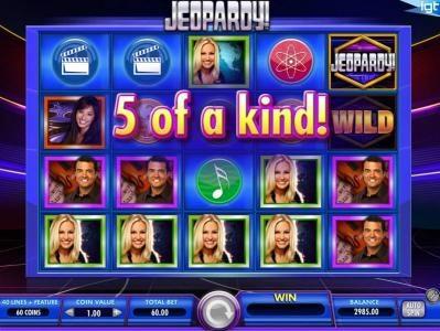Jeopardy! :: A five of a kind triggers a Big Win!