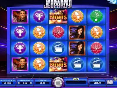 Jeopardy! :: Two bonus symbols on the third reel awards the Jeopardy! Board Bonus Game