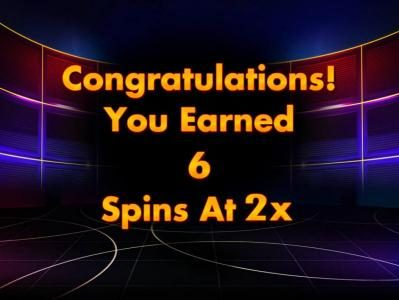 Jeopardy! :: Six free spins with a 2x multiplier have been awarded.