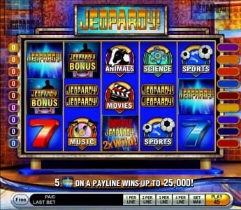 Jeopardy :: Main game board featuring five reels and 15 paylines with a $25,000 max payout