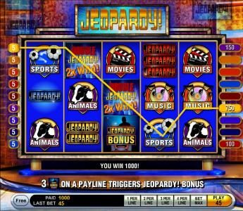 Jeopardy :: Multiple winning paylines triggers a 1000 coin big win!