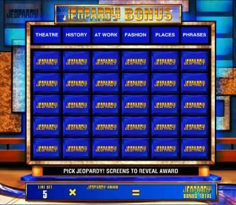 Jeopardy :: Bonus feature game board. Pick Jeopardy! screens to reveal award.