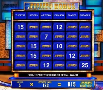 Jeopardy :: For each selection you are awarded line multipliers
