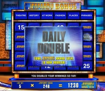 Jeopardy :: There are two Daily Double on the game board. Find them and your prize award is doubled.