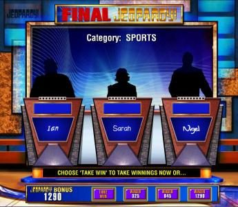 Jeopardy :: The second part of the bonus feature is Final Jeopardy. You have a choice to wager a portion of your winnings or take it.