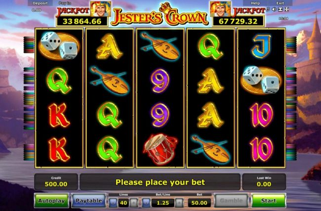 Jester's Crown :: Main game board featuring three reels and 5 paylines with a progressive jackpot max payout.