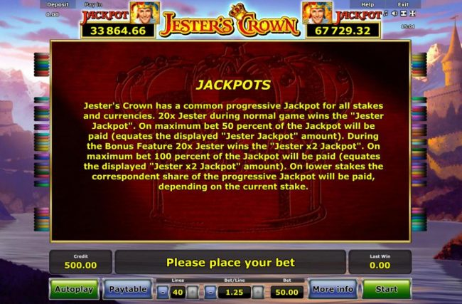 Jester's Crown :: Jackpots  Rules - Jesters Crown has a common progressive jackpot for all stakes and currencies. 20x jester during normal game wins the Jester Jackpot.