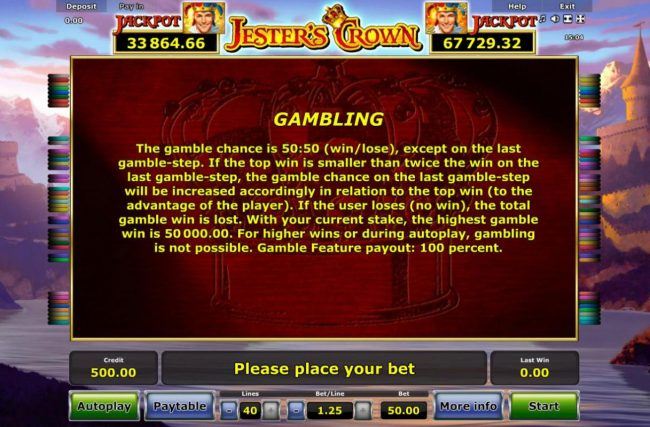 Jester's Crown :: Gambling Rules - The gamble chance is 50:50 (win/lose), except on the last gamble-step.