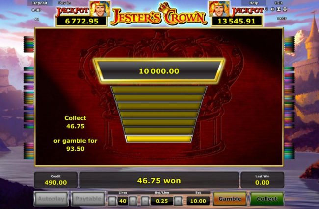 Jester's Crown :: Ladder Gamble Feature Game Board available after every winning spin.