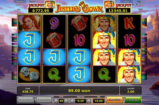 Jester's Crown :: Multiple winning paylines triggers a 89.00 win!