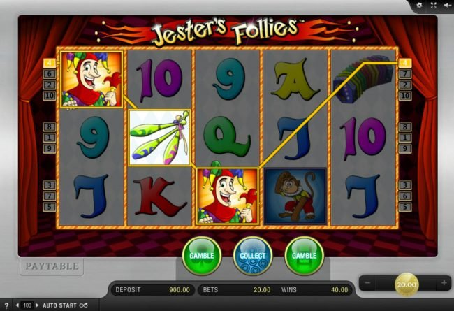 DruckGluck featuring the Video Slots Jester's Follies with a maximum payout of $20,000