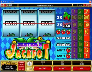 Play Million featuring the video-Slots Jester's Jackpot with a maximum payout of $36,000
