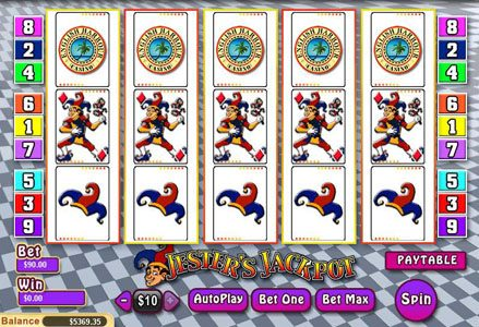 Liberty Slots featuring the Video Slots Jester's Jackpot with a maximum payout of $25,000
