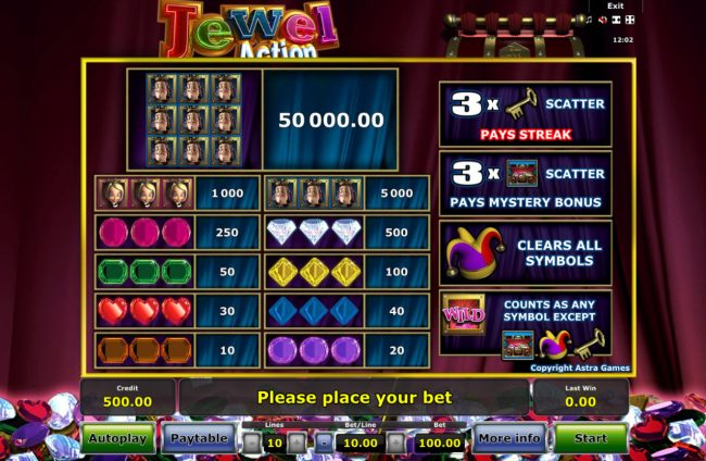 Jewel Action :: Paytable
