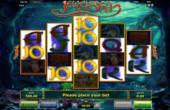 An undersea adventure main game board featuring five reels and 720 winning cambinations with a $40,000 max payout