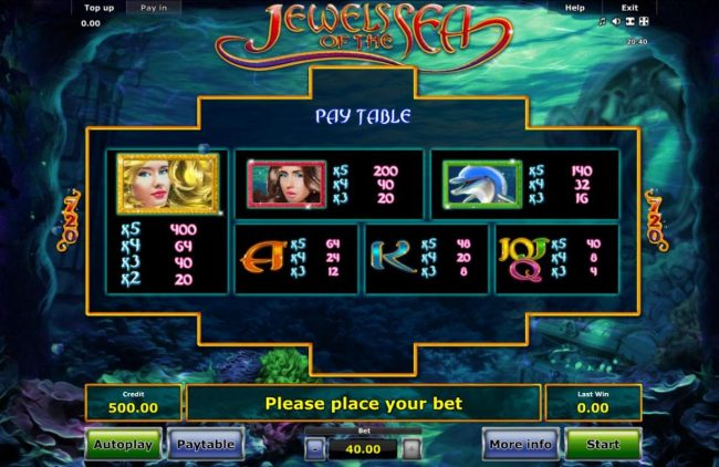 Slot game symbols paytable featuring undersea inspired icons.