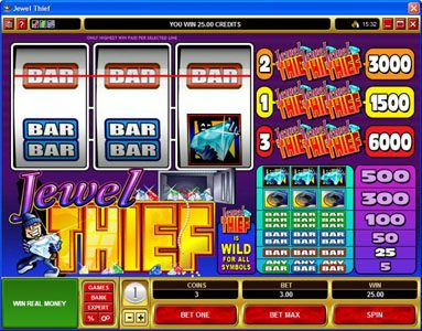 Captain Cooks featuring the Video Slots Jewel Thief with a maximum payout of $30,000
