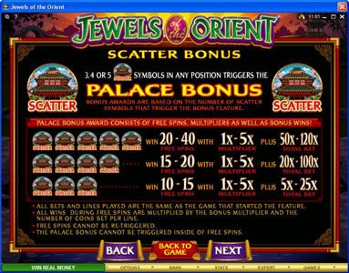 18 Bet featuring the Video Slots Jewels of the Orient with a maximum payout of $62,500