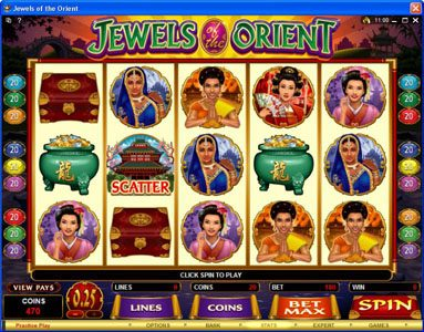 All Jackpots featuring the Video Slots Jewels of the Orient with a maximum payout of $62,500