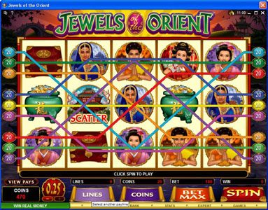 Lucky Dino featuring the Video Slots Jewels of the Orient with a maximum payout of $62,500
