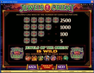 Mongoose Casino featuring the Video Slots Jewels of the Orient with a maximum payout of $62,500