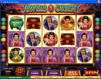 My Win 24 featuring the Video Slots Jewels of the Orient with a maximum payout of $62,500