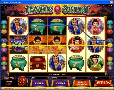 Play slots at Vegas Hero: Vegas Hero featuring the Video Slots Jewels of the Orient with a maximum payout of $62,500