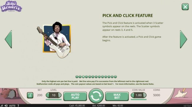 Jackpot Knights featuring the Video Slots Jimi Hendrix with a maximum payout of $80,000