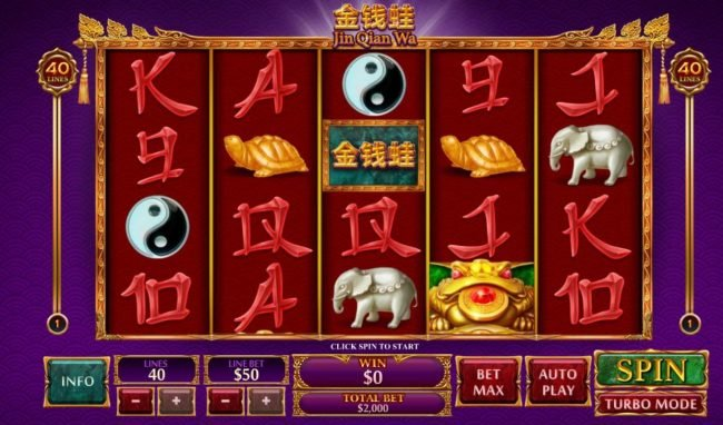 Jin Qian Wa :: Main game board featuring five reels and 50 paylines with a $50,000 max payout