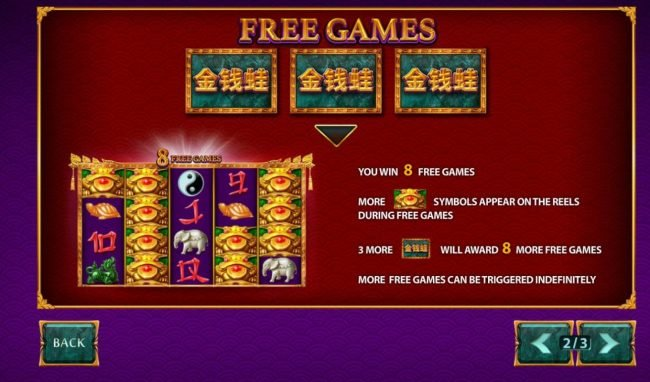 Jin Qian Wa :: Free Games Feature Rules - 3 scattered game logos awards 8 free games with more wild symbols appearing on the reels during free games. Free games can be re-triggered.