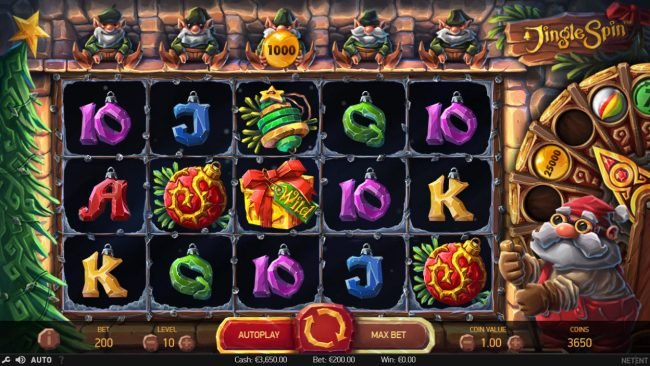 Touch Lucky featuring the Video Slots Jingle Spins with a maximum payout of $94,750