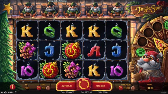 Viggoslots featuring the Video Slots Jingle Spins with a maximum payout of $94,750