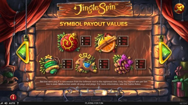 Guru Play featuring the Video Slots Jingle Spins with a maximum payout of $94,750