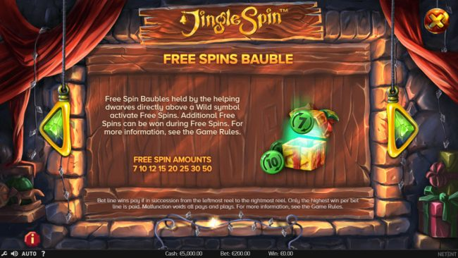 Buran featuring the Video Slots Jingle Spins with a maximum payout of $94,750