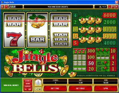 Wild Slots featuring the Video Slots Jingle Bells with a maximum payout of $30,000